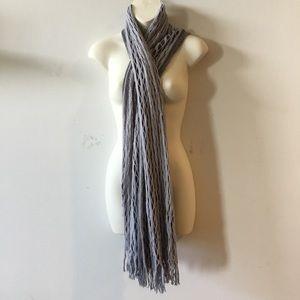 SOFTEST Gray mixed media cashmere tube neck scarf